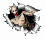 Ripped Torn Metal Design With Zombie Breaking Through Motif External Vinyl Car Sticker 105x130mm
